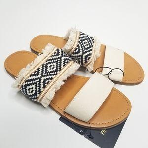 Forever 21 Beige Sandals Boho Aztec Slides WMN 6.5